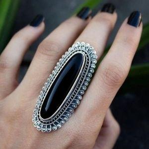 New! Black Onyx Silver Statement Ring
